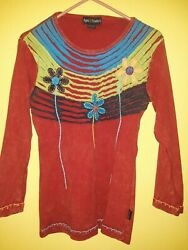Agan Traders Bohemian Long Sleeve Top Small Made in Nepal Excellent Boho $13.00