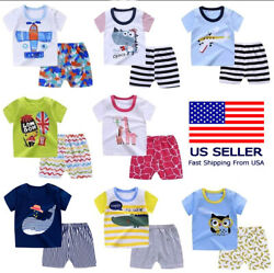 Set of 2 Top Short For Toddlers Baby Outfit Clothing Cartoons Cotton Lightweight $5.99