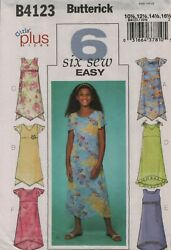 Butterick 4123 Sewing Pattern Girls Plus Dresses 6 Easy 10 1 2 to 16 1 2 UNCUT $5.00