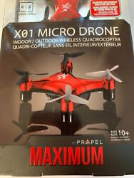 PROPEL Maximum X01 Micro Drone Indoor Outdoor Wireless Quadrocopter Red New $29.95