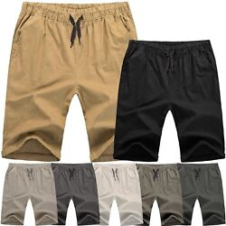 Mens Cotton SHORTS Flat Front Summer Casual Twill Classic Slim Fit Beach Light $18.99