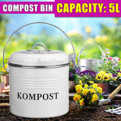 5L Compost Pail Bucket Bin Garden Kitchen Waste Food Carbon Charcoal Filter US $28.69