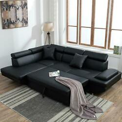 Modern Living Room Sectional Sofa Sleeper Bed Futon Couch Convertible Leather $1232.12