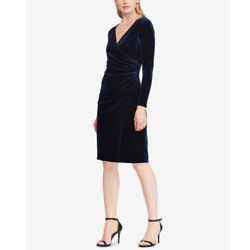 Lauren Ralph Lauren Navy Velvet Surplice Dress Size 16 Wrap Party Cocktail Women $32.99