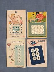 Carved Mother Of Pearl Button Cards. Vintage Antique With Great Graphics $15.00