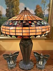 Bradley Hubbard Arts Crafts Mission Leaded Slag Glass Antique Lamp Handel Era NR $1475.00