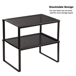 Home Kitchen Cabinet and Counter Shelf Organizer Expandable amp; Stackable Black $18.49