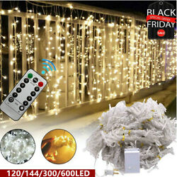 600LED 10ft Curtain Fairy Hanging String Lights LED Home Wedding Party 8 Modes