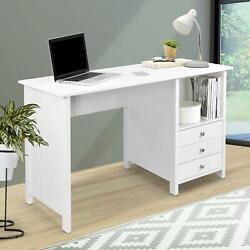 Contemporary Home Office Desk with 3 Storage Drawers White Large Work Surface $158.41