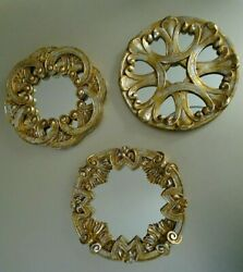 Antique Gold Tone Scrolls Framed Wall Mirrors 3 Piece Set $49.99