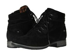 Earth Origins BOONE Womens Black Suede Ankle Lace Up Booties Boots $47.97