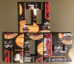 4 Coffee Themed Switch Plate Cover Set $9.99