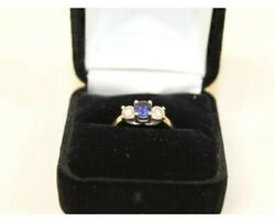 Estate 14k Platinum Ring sapphire Diamond Size 5 Magic Glo $799.99