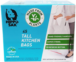 Best Plant Based Hippo Sak Tall Kitchen Bags with Handles 13 Gallon 45 Count New $23.20