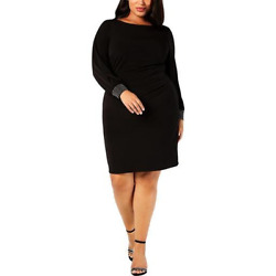 Jessica Howard Womens Plus Party Embellished Cocktail Dress Black Pick Size $29.99