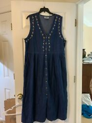 Womens Christmas Jean Dress Embroidery Size 16 $14.75
