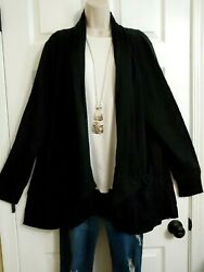 Ryllace NWT $200 Luxury Pockets Draping Open Soft Cardigan Top Plus 3X Black $33.00