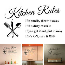 Removable Kitchen Rules Art Wall Sticker Paper Kitchen Wall Stickers Applique $8.16