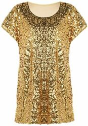 PrettyGuide Women#x27;s Sequin Top Shimmer Glitter Loose Bat Sleeve Party Tunic Tops $48.45