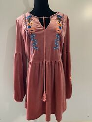 Misslook Velvet Long Puff Sleeve Embroidered Stretch Boho Tunic Top Blouse M . $22.00