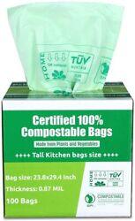Primode 100% Compostable 13 Gallon Tall Kitchen Biodegradable Trash Bags 100 Ct $28.88