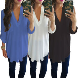 Top Pullover Solid Party Plus Size Tunic Long Sleeve V Neck Chiffon Women Blouse $14.34