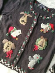 Christmas Dogs Cardigan Sweater Large Northern Isles holiday women#x27;s seasonal $45.00