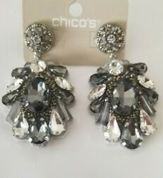 CHICO#x27;S GRAY SIMULATED CRYSTAL CHANDELIER EARRINGS $15.00