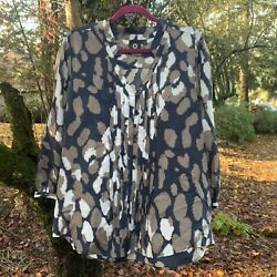 Amber Sun Women#x27;s Blue Brown Abstract Print 3 4 Sleeve 100% Silk Blouse Medium $14.99