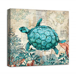 Beach Coastal Bathroom Wall Art Decor Canvas Print Sea Turtle Picture Framed to $18.72