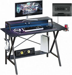 47quot; Gaming Table Computer Desk Laptop PC Study Writing Table W USB amp; Cup Holder $109.99