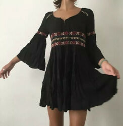 American Eagle Women#x27;s Small Black Boho Dress Embroidered Trim Bell Sleeve NWT M $22.50