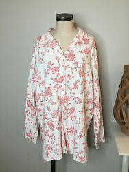 Coldwater Creek Womens Linen Blend Button Front Top Plus 3X White Red Floral $18.88