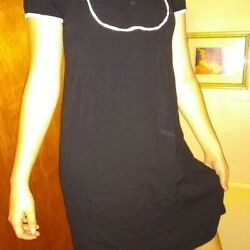 Atmosphere Vintage Looking Black Dress with Buttons and White Accents $12.00
