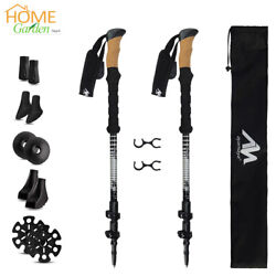2 Pack Ultralight Carbon Fiber Telescopic Sticks Climbing Trekking Hiking Poles $44.99