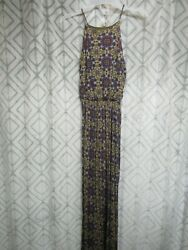 Lush Maxi Dress Size XS Multi Colors Pull Over Straps Side Slit Casual Lounge $9.99