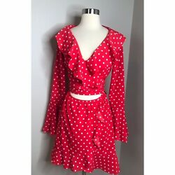 Sabo Skirt Luxe Women's Red Dottie Ruffle Mini Dress Bell Sleeve Small $40.00