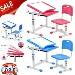 Height Adjustable Desk and Chair Set High School Student Childs Kids Study Table $29.99