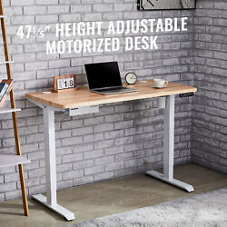 47quot; Height Adjustable Electric Standing Desk for Home Office Study More White $266.99