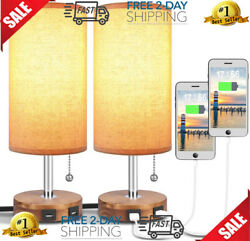 Bedside Desk Lamp with Dual USB Charging Ports Round Fabric Lamp Sets 2 Packs $71.99