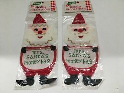 Vintage Mrs. Santa#x27;s Money Bag Christmas Decoration Felt Zipper NOS Made in Japa $12.00