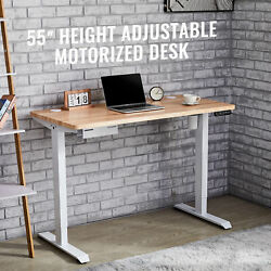 55quot; Height Adjustable Electric Standing Desk for Home Office Study More White $287.99