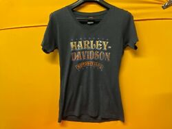 Harley Womens V Neck Short Sleeve T Shirt Dark Grey Medium $19.95