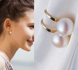 Lady 1 Pair Women Lady Elegant White Pearl Crystal Rhinestone Ear Stud Earrings $0.99