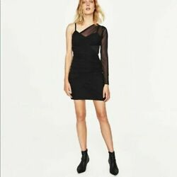 NWT Zara Women#x27;s Black One Shoulder Mesh Sleeve Fitted Mini Dress Party Prom M $29.98