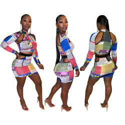2pcs Fall Women Sexy Bodycon Newspaper Printed Hollowed Out Top Short Skirt Sets $23.23