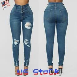US Women#x27;s High Waisted Jeans Slim Fit Ripped Pants Ladies Basic Skinny Trousers $13.99