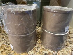 SET OF 4 5.5quot; X 5.5quot; X 4quot; CLIP ON DRUM SHADES TAUPE IN ORIGINAL PACKAGING $21.00