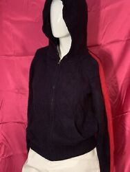 Juicy Couture Black Label Italian Cashmere Track Hoodie Navy Blue amp; Red Size MED $35.00
