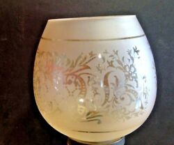 ETCHED SHADE VIANNE FRANCE AMBER DECORATED GLOBE LAMP FIXTURE $27.50